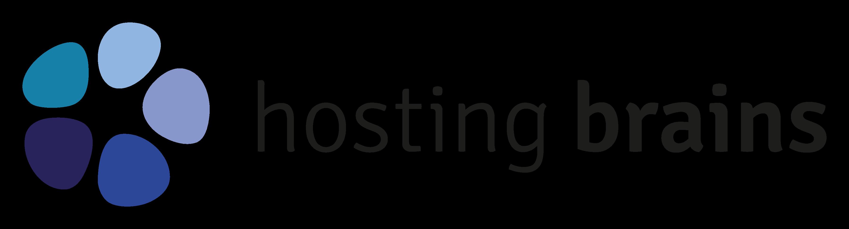 "Logo ""Hosting Brains"" mit Grafik links"